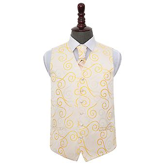 Gull bla bryllup vest & Cravat sett