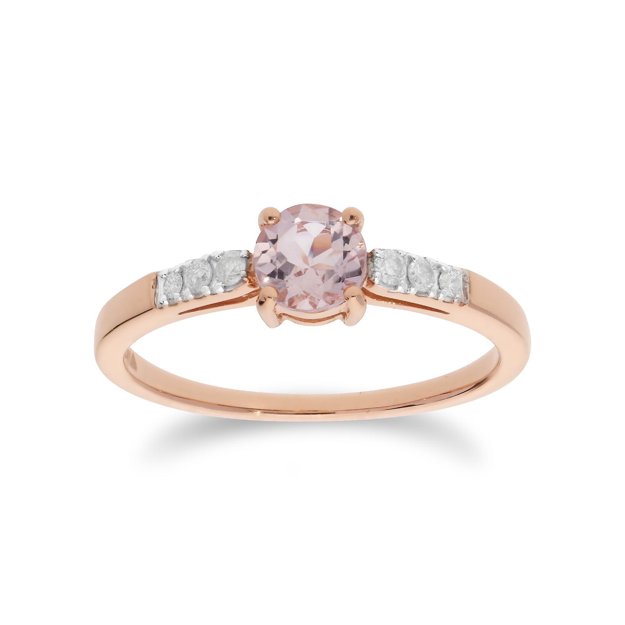 Gemondo 9ct Rose Gold 0.41ct Morganite & Diamond Oval Cut Solitaire Ring