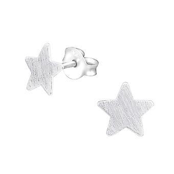 Star - 925 Sterling Silver Plain Ear Studs - W27363X