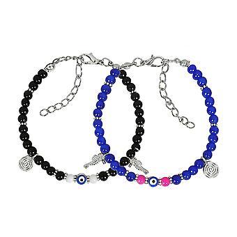 Boze oog bescherming liefde paren amuletten Set Royal Blue roze Black Sea Horse Power armbanden