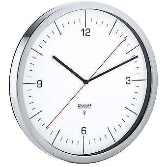 Wall clock radio CRONO satin stainless steel with clear glass clock combined 30.5 cm ø