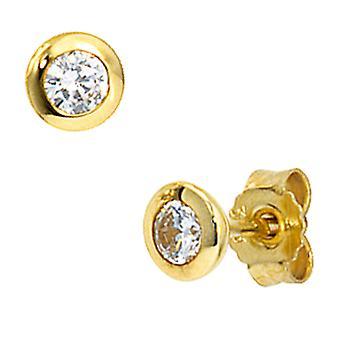 Med kubikk zirconia MIU stud øreringer gull Stud øredobber gull 333 øredobber gull