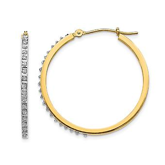 Accent Diamond Hinged Round Hoop Earrings in 14K Yellow Gold (1 1/8 Inch)