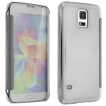 Flip Case, Mirror Case for Galaxy S5/S5 New, see through front flip - Silver