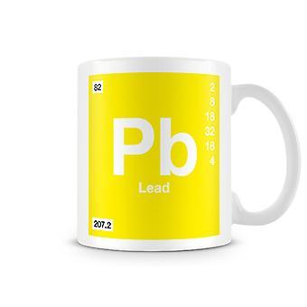 Vetenskaplig tryckt mugg med elementet Symbol 082 Pb - bly