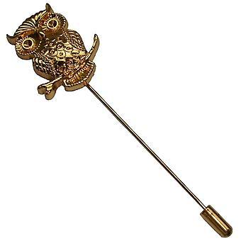 Bassin och bruna Uggla Lapel Pin - guld