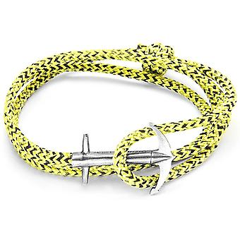 Anchor and Crew Admiral Silver and Rope Bracelet - Yellow Noir