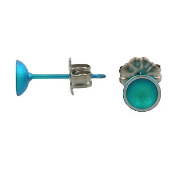 Ti2 Titanium Dome kleine Stud Earrings Stud Earrings - Kingfisher blauw