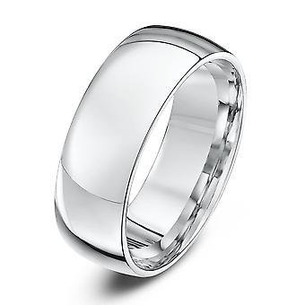 Star Wedding Rings 18ct White Gold Light Court Shape 7mm Wedding Ring