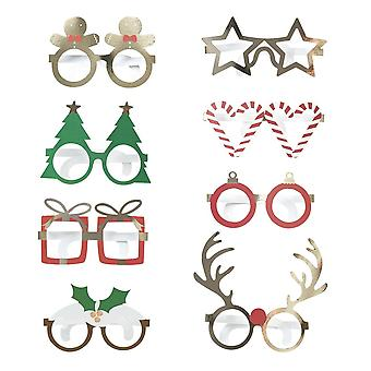 Neuheit Spaß Karte Gläser x 8 Christmas Party spielen