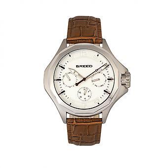 Race de Tempe-bracelet en cuir montre w/jour/Date - Light Brown/Silver