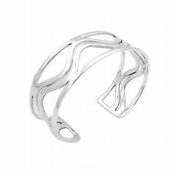 Tripple Row Sterling Silver Bracelet Curvy In The Middle Row