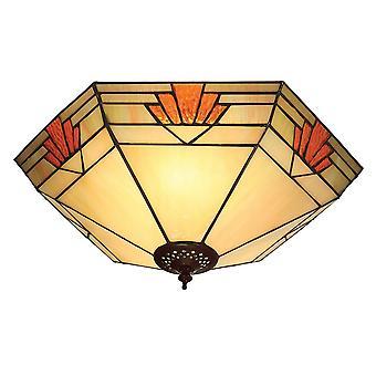 Nevada grande estilo Tiffany dos luz rasante luminaria de techo - interiores 1900 64284