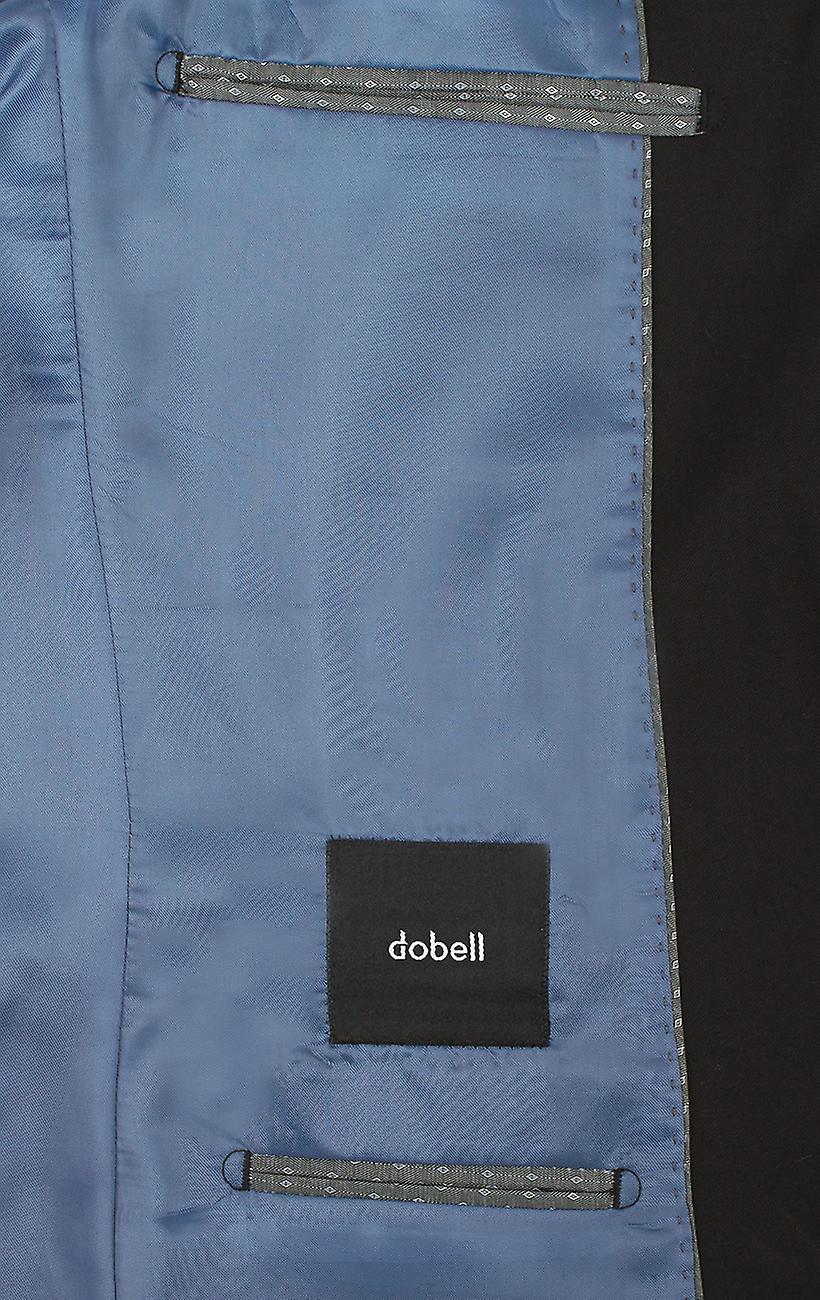 Dobell Herre sort jakkesæt jakke Slim Fit Notch revers