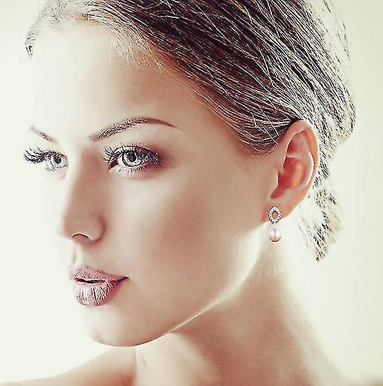 925 Sterling Silver Pave Eye Shape Drop Pearl Earrings