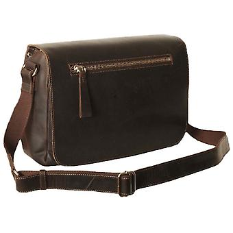 Ashwood Leather Kingsbury Oily Hunter Large Messenger Bag - Brown