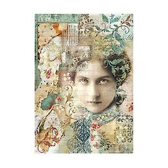 Stamperia Reis Papier A4 Zeit ist eine Illusion-Gesicht (DFSA4267)