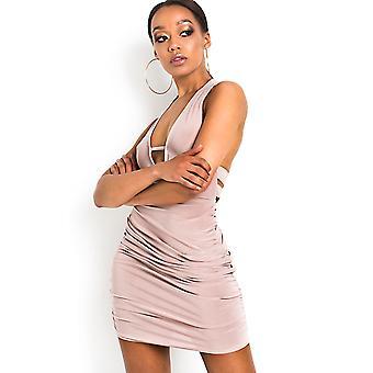 IKRUSH Womens Luna Bodycon furtivo Halterneck vestido
