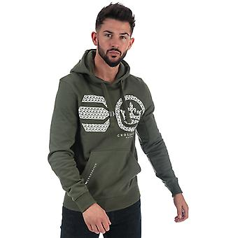 Mens Crosshatch Black Label Cassmore Overhead Hoody In Green- Ribbed Cuffs And