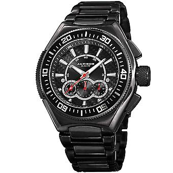 Akirbos XXIV AK910BK mäns Quartz Chronograph svart arm band Watch