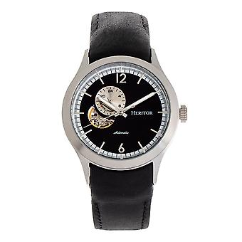 Heritor Automatic Antoine Semi-Skeleton Leather-Band Watch - Silver/Black