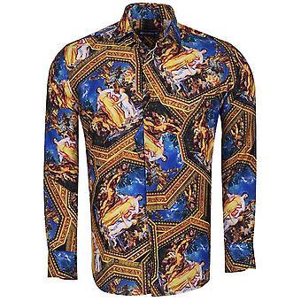 Oscar Banks Baroque Garden Of Eden Print Long Sleeve Mens Shirt