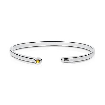 Kennesaw State University Engraved Sterling Silver Yellow Sapphire Cuff Bracelet