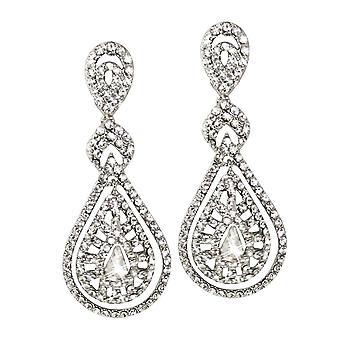Eeuwige collectie Crystal elegantie Diamante zilveren Toon Drop doorstoken oorbellen