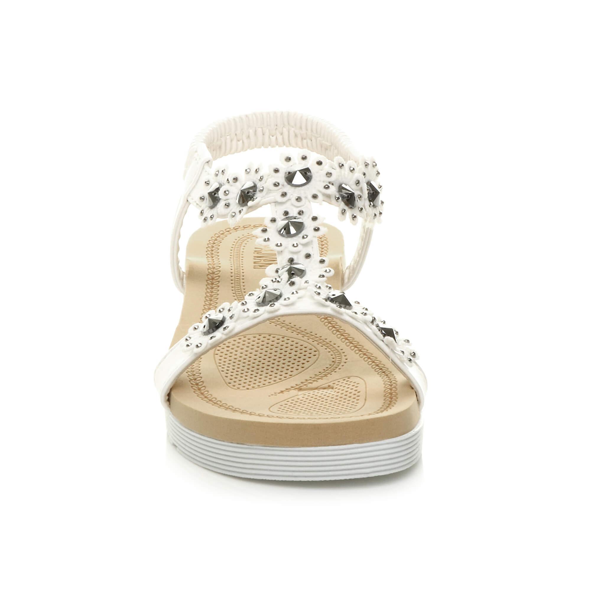 Ajvani femmes low wedge heel flatform diamante fleur t-bar sandales à l'élingage