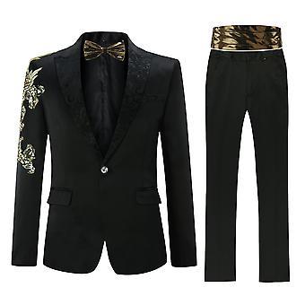 Allthemen mannen tuxedos stoffen suits jurk 4-delig Blazers & broek & stropdas & gordel