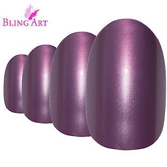 Unghie finte di viola arte bling glitter consigli acrilico falso medio ovale 24 con la colla