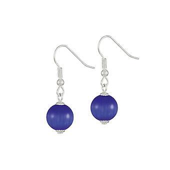 Eternal Collection Melody Deep Blue Cats Eye Silver Tone Drop Pierced Earrings