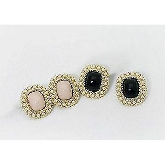 Earrings with beads-1-pair (black)