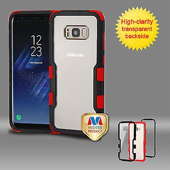 MYBAT Natural Black Frame+Transparent PC Back/Red TUFF Vivid Hybrid Case for Galaxy S8 Plus