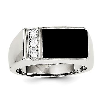 925 Sterling Silver Solid Polished Open back Simulated Onyx and Cubic Zirconia Mens Ring Jewelry Gifts for Men - Ring Si