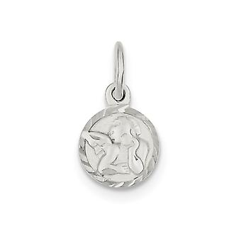 925 Sterling Silver Polished Solid Back Sparkle Cut Cherub Disk Charm Pendant Necklace Jewelry Gifts for Women