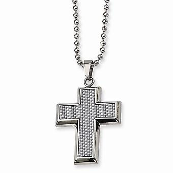 Stainless Steel Polished Engravable Fancy Lobster Closure Grey Carbon Fiber Religious Faith Cross Necklace 22 Inch Jewel