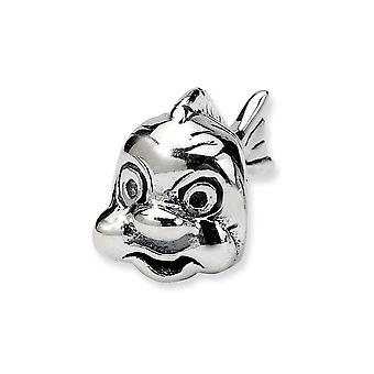 925 Sterling Silber poliert Antike Finish Reflexionen SimStars Fisch Perle Charme