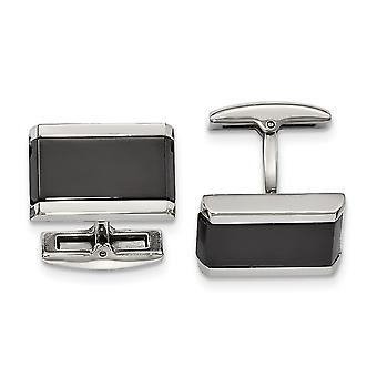 Stainless Steel Polished Black Simulated Onyx Rectangle Cuff Links Jewelry Gifts for Men