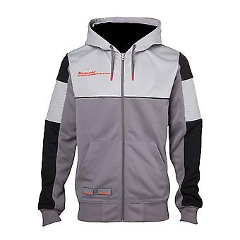 Official Mens Nintendo Hoodie NES Console Inspired Logo Gamer new Zipped Grey