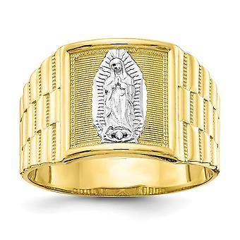 10 k giallo oro lucido strutturato indietro e rodio Mens nostra signora di Guadalupe Ring - 4,0 grammi