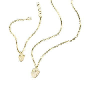 The Rolling Stones Gold Necklace and Bracelet Set