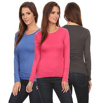 3 Pack Women's Long Sleeve Shirt Crew Neck Slim Fit: ROYAL/FUCHSIA/CHARCOAL