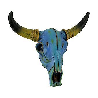 Красочные синий галстук краситель Стир череп на стене