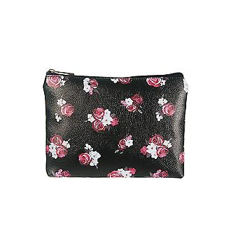 Jewelcity Womens/Ladies Dark Floral Big Flat Makeup Bag