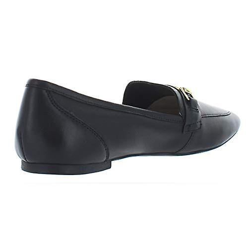 INC Womens Oleena Metallic Leather Loafers Black 9 Medium (B,M)