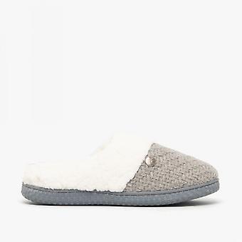 Dr Keller Mae Ladies Knitted Mule Slippers Grey