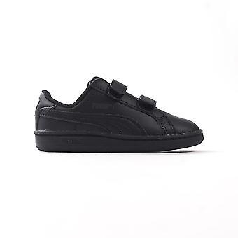 Puma Smash divertimento bambini infanti Nubuck Trainer scarpa nero / nero