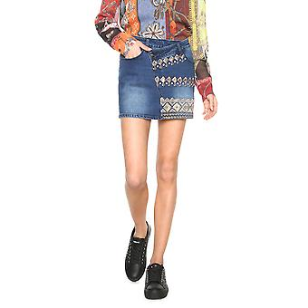Desigual Women's Exotic Silver Golden Embroidery Denim Skirt