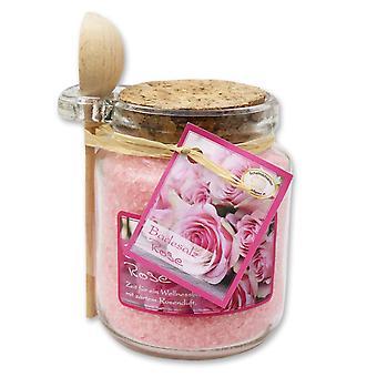 Florex Bath Sais Banho Aditivo Rose Diana em vidro decorativo com colher de pau 300 g